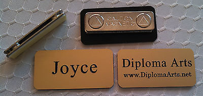 Custom Name Tags 2x1 Gold -black Letters Corners Rounded W Magnet Attachment