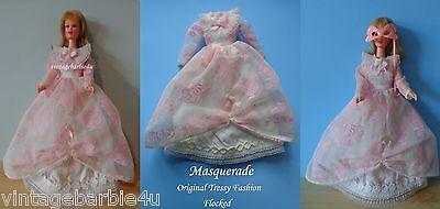 "Ultra RARE Tressy ""Masquerade Dress"" Vintage Pink Flocked Barbie Doll size"