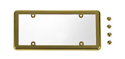UNBREAKABLE Flat Clear License Plate Shield  GOLD Frame for NISSAN
