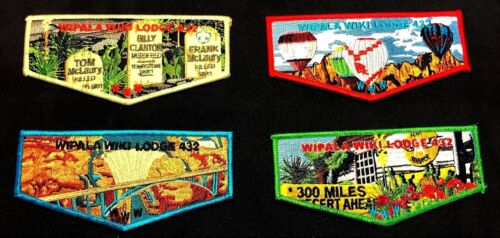 OA WIPALA WIKI 432 BSA GRAND CANYON COUNCIL 2018 AZ ATTRACTIONS 4-PATCH FLAP SET