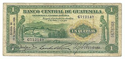 Guatemala 1 Quetzal 1938 P14a F+ Bird Central America Old Money Rare
