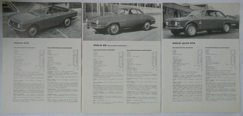 1965 Alfa Romeo Giulia SS, Sprint GTA & GTC Sales Brochure Folder & Spec Sheet