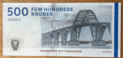 Denmark 500 Kroner 2016 UNC NEW Bridge sign. 1