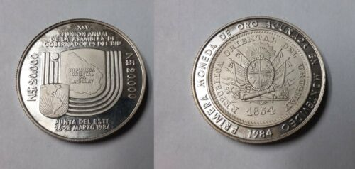 Rare 1984 Uruguay  Silver Pattern 20000 Pesos Bank, PN A119