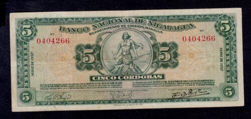 NICARAGUA  5  CORDOBAS  1957    PICK # 100b  VF.