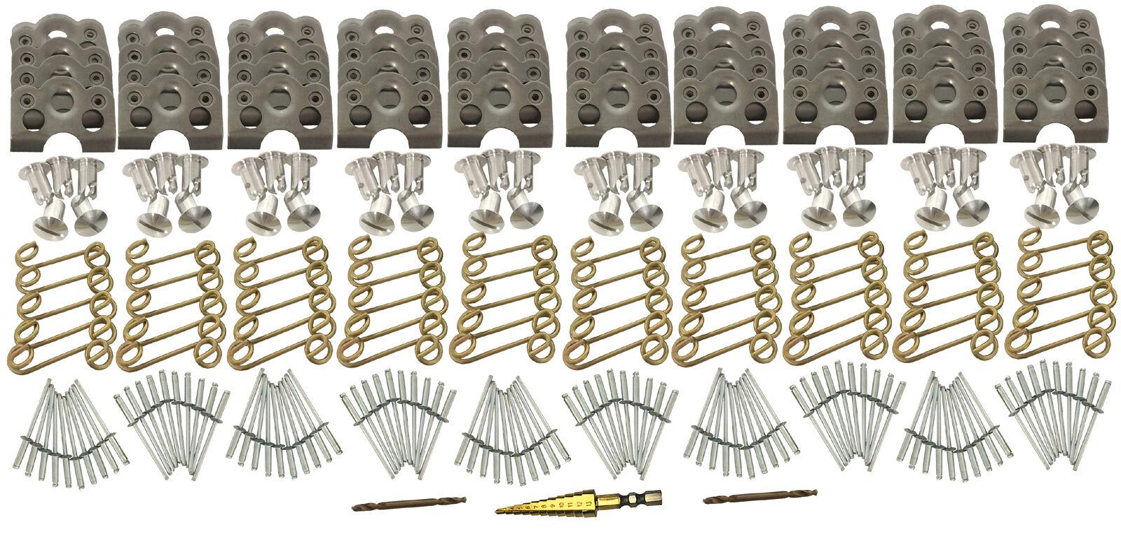 "Springs Tab Plate 100 PCS Polaris RZR KIT 7//16/"" Steel Dzus Button Fastener"