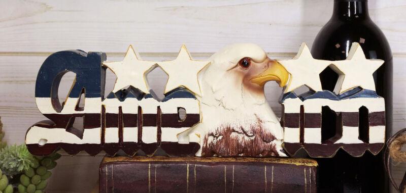 Ebros America Patriotic Bald Eagle Stars Word Art Sign USA Flag Desktop Plaque
