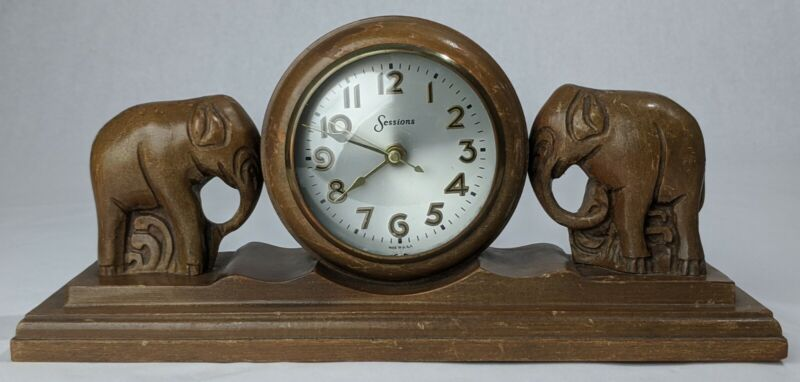 "Vintage Sessions USA 14"" Wooden Folk Art Mantel Clock w/ Hand Carved Elephants"