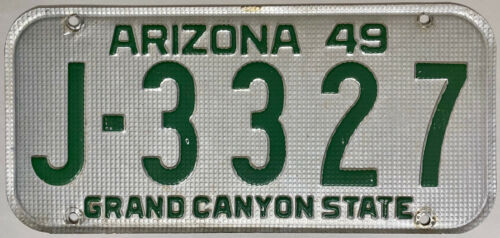 1949 ARIZONA License Plate - AZ #J-3327
