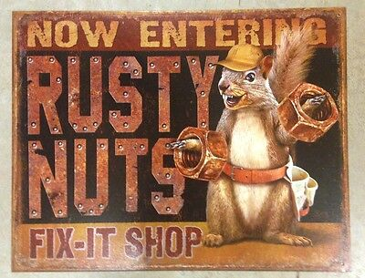Now Entering Rusty Nuts Fix It Shop Metal Sign New 12 1/2x16inch