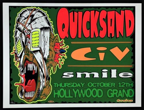 Quicksand POSTER CiV Smile Silkscreen by TAZ Hollywood CA Concert 1995 Mint!