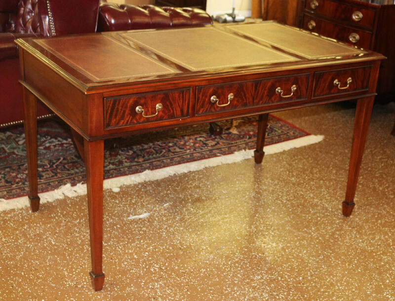 Sophisticated Sheraton Mahogany Leather Top Writing Table Desk MINT 3 Drawers