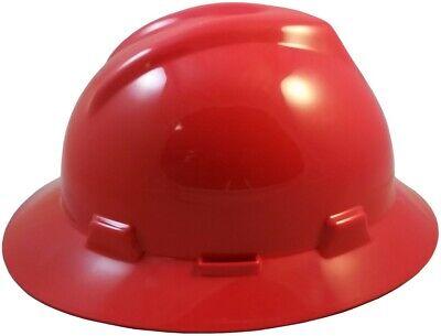 Msa V-gard Full Brim Hard Hat With Fas Trac Suspension - Red