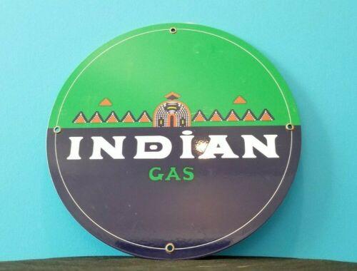 VINTAGE INDIAN GASOLINE PORCELAIN SERVICE STATION NATIVE AMERICAN CHIEF SIGN