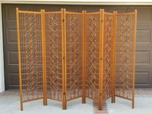 MCM Teak Traditional Japanese Kumiko 6 Panel Folding Screen Room Divider XLNT!!