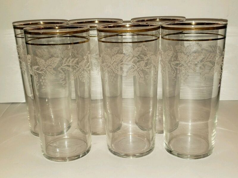 6 VINTAGE FEDERAL GOLD RIM GRAPEVINE DRINKING GLASSES TUMBLERS