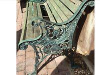 Cast garden bench