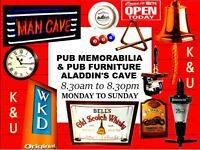 VISIT TODAY: - PUB AND HOME BAR ALADDIN'S CAVE: BEER PUMPS, MIRRORS, LIGHTS, SIGNS, SHED, MAN CAVE