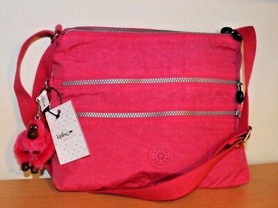 New Kipling Alvar Vibrant Pink Crossbody Bag Multi Zip Shoulder Purse