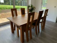 Solid Oak Dining Set - extendable dining table and 6 x chairs