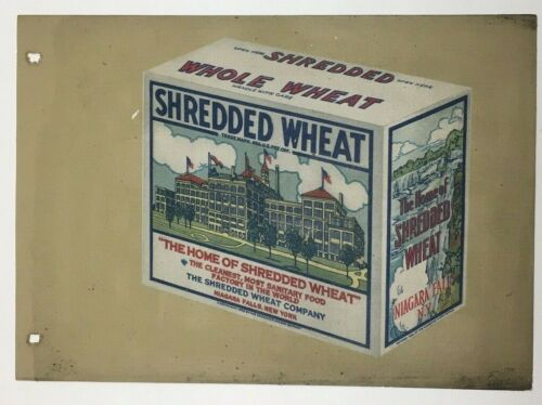 RARE 1926 SHREDDED WHEAT NIAGARA FALLS NEW YORK OIL CLOTH SIGN PORTFOLIO COVER