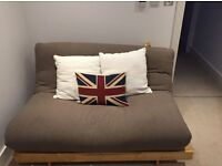 "FUTON COMPANY ""Orlando"" Double Futon Sofa Bed & Extra Cover, Hardwood Base, Sofabed, + I CAN DELIVER"