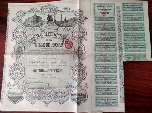 Russian 1896 Gaz Electricite City Ville Kazar 100 Francs NOT CANCELLED Bond Loan