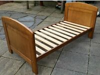 junior bed. wood frame. 146cm x 76cm. Good quality. In excellent condition.