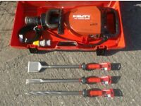 HILTI TE1000-AVR HEAVY BREAKER/DEMOLITION HAMMER 110v (c/w Carry Case x3 Chisels)