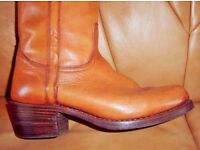 Real Leather Tan Cowboy Boots - size 9.