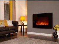 Truflame remote control curved wall mounted pebble effect electric fire. 2 heat settings