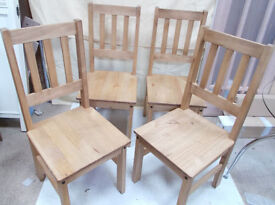 Set of 4 Solid Pine Chairs
