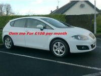 2012 Seat Leon 1.6Tdi Copa Ecomotive, Free Tax in White.