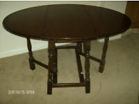 DROP LEAF OVAL DINNING TABLE & 2 CHAIRS