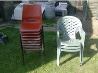 8 stackable garden chairs + 4 more £8 the lot