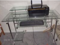 glass and chrome computer desk