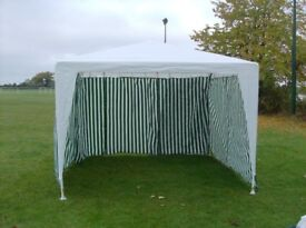 Gazebo with canvas sides and steel frame, for sale.