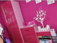 Seconique Jasper Gloss Bedside 4 Drawer Chest Wardrobe Bedroom Set - Pink