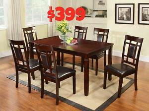 NEW YEARS  SPECIALS ON NOW  7PC SOLID WOOD DINING ROOM SET $399LOWEST PRICES