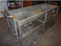 Industrial Heavy Duty Double Barrel Sink in Stainless Steel