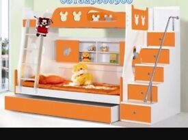 Three tier bunk bed. Baby blue and white and matching desk also available.