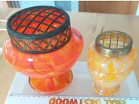 2 Czech Red, Yellow & Orange and a yellow and opac Spatter Glass Posy Vases / Rose Basket
