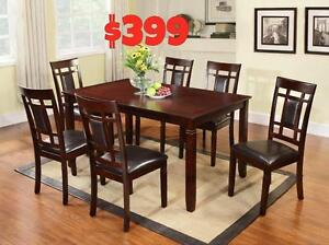 SALE ON NOW  7PC SOLID WOOD DINING ROOM SET $399