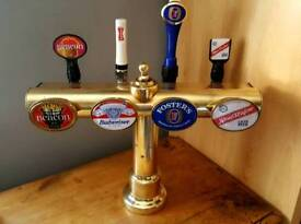 4 Tap Brass Beer Pump. Ideal For Man Cave