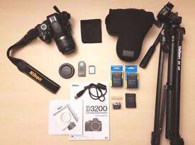NIKON - D3200 DSLR Camera with Case, Tripod & More