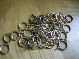 QUANTITY OF BRASS CURTAIN RINGS AND BRASS CURTAIN POLE FIXINGS Absolute bargain at £4.00 the lot!!