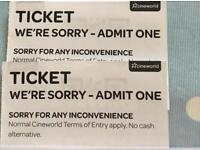 IMAX Cineworld Tickets x 2