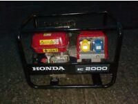 HONDA PETROL EC2000 2KVA DUAL VOLTAGE GENERATOR 110v/240v OPTION