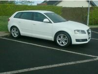 2009 Audi A3 1.9 Sport Tdi, 5 Door Sportback, in White, £30 to tax.