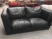** BLACK REAL LEATHER SETTEE ** CAN DELIVER **